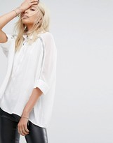 Religion Relaxed Shirt With Rhinestone Embellished Collar And Sleeves