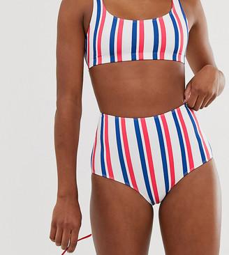 Monki high waisted bikini brief in nautical brief