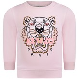Kenzo KidsBaby Girls Pink Embroidered Tiger Sweater
