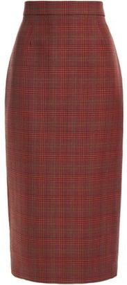 Antonio Berardi Prince Of Wales Checked Wool-blend Midi Pencil Skirt
