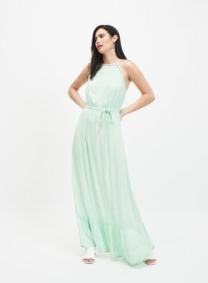 Miss Selfridge Green Lace Trim Maxi Dress