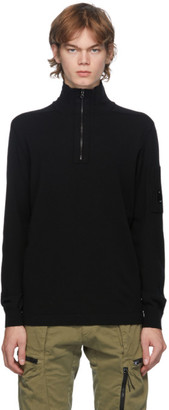 C.P. Company Black Virgin Wool Half-Zip Sweater