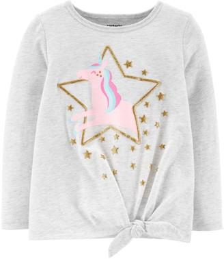 Carter's Toddler Girl Glitter Unicorn Tie-Front Tee