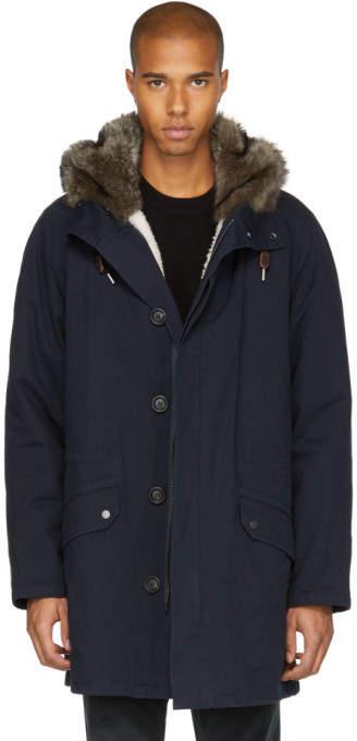 Yves Salomon Navy Fur-Lined Long Parka