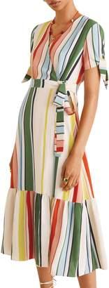 MANGO Striped Wrap Dress