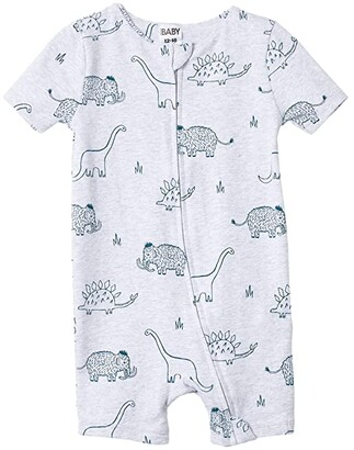 Cotton On The Snug Short Sleeve Romper (Infant/Toddler) (Cloud Marle/Dino Mammoth) Boy's Jumpsuit & Rompers One Piece