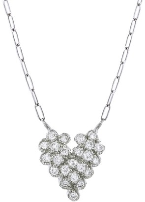 Cathy Waterman Scalloped Diamond Heart Necklace