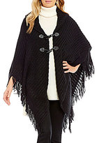 Collection 18 Ripple-Knit Toggle Poncho