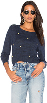 Sundry Burnout Star Patches Sweater in Navy