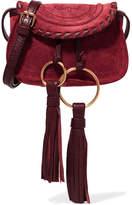 See by Chloe Polly Mini Leather-trimmed Tasseled Suede Shoulder Bag - Burgundy