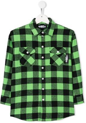 Jeremy Scott Junior Logo Print Plaid Shirt