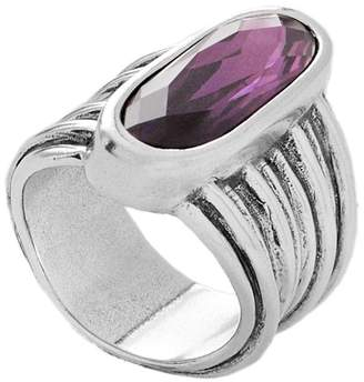 Uno de 50 Bezel Set Faceted Swarovski Crystal Accented Ribbed Band Ring