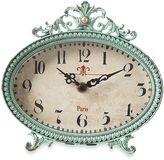 Creative Co-Op Pewter Tabletop Clock in Aqua