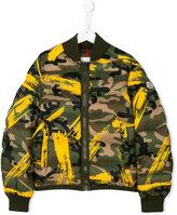 Moncler camouflage print padded bomber jacket