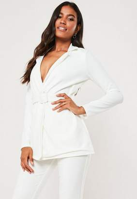 Missguided White Co Ord Self Fabric Belted Blazer