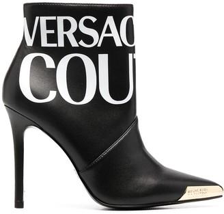 Versace Jeans Couture Logo-Print Metal-Toecap Boots
