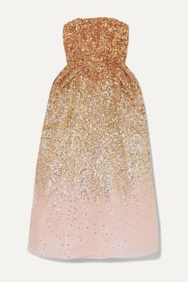 ONG-OAJ PAIRAM Ofelia Sequined Silk-organza Midi Dress - Gold