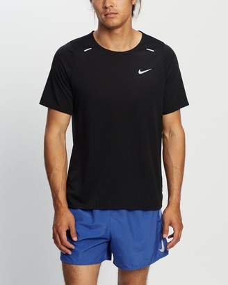 Nike Men's Black Short Sleeve T-Shirts - Rise 365 Short Sleeve Running Top - Size S at The Iconic