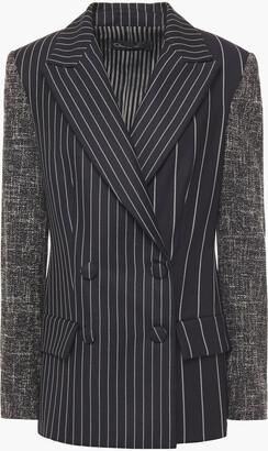 Oscar de la Renta Tweed-paneled Striped Wool And Mohair-blend Twill Blazer