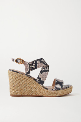 Stuart Weitzman Ellette Snake-effect Leather Espadrille Wedge Sandals - Snake print