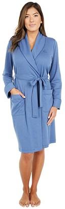 Lauren Ralph Lauren Brushed Herringbone Knit Short Shawl Collar Robe (Indigo) Women's Robe