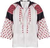 VITA KIN Dots embroidered mid-weight linen blouse