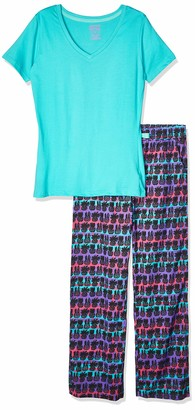 Bottoms Out Women's Knit Short Sleeve Top and Printed Woven Pant Sleep Set
