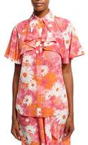 Michael Kors Daisy-Print Draped Silk Blouse, Pink