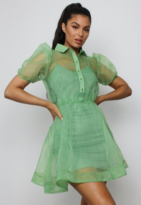Missguided Sage Organza Puff Sleeve Shirt Dress