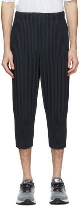 Homme Plissé Issey Miyake Navy Cropped Basics Trousers