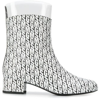 MSGM Logo Patterned Ankle Boots