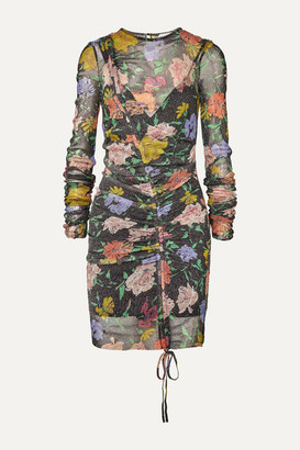 Alice McCall Cosmic Ruched Metallic Floral-print Mesh Dress - Black