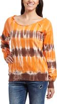 Orange & Brown Tie-Dye Boatneck Sweater
