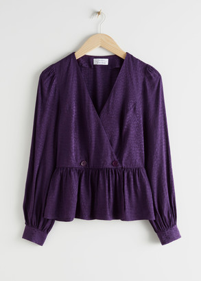 And other stories Leo Jacquard Duo Button Wrap Blouse