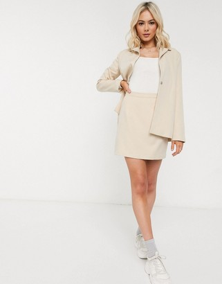 Heartbreak tailored mini skirt suit in cream