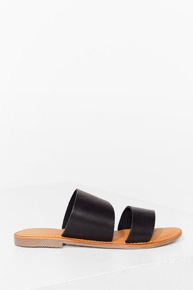 Nasty Gal Womens Born to Mule Faux Leather Flat Sandals - Black