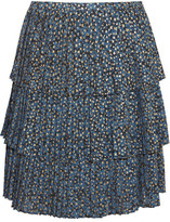 MICHAEL Michael Kors Tiered Metallic Printed Georgette Skirt - Blue