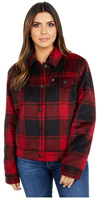 Levi's Knit Classic Trucker Jacket (Black/White) Women's Clothing