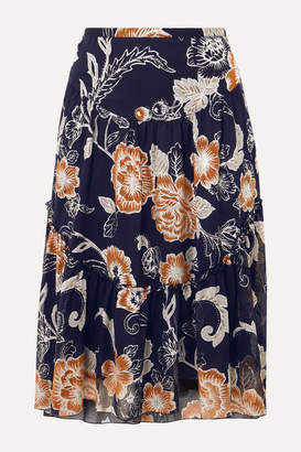 See by Chloe Tiered Metallic Silk And Cotton-blend Crepon-jacquard Skirt - Navy