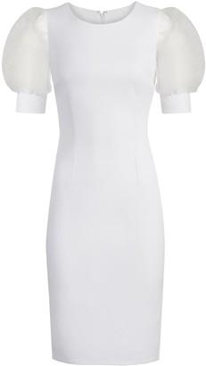 New York & Co. Organza-Sleeve Sheath Dress - Magic Crepe