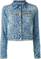 Philipp Plein animal print denim jacket - women - Cotton/Spandex/Elastane - S