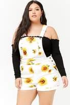Forever 21 FOREVER 21+ Plus Size Sunflower Denim Overall Shorts