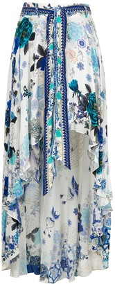 Camilla White Moon print asymmetrical skirt