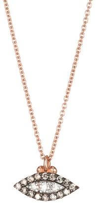 Kismet By Milka 14K Rose Gold, Champagne Diamond & White Diamond Evil Eye Pendant Necklace