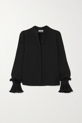 Co Ruffled Crepe De Chine Blouse - Black