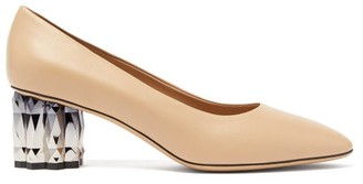 Salvatore Ferragamo Amina Faceted-heel Leather Pumps - Womens - Nude