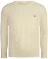 Gant Boys Ivory Cotton Cable Knit Jumper