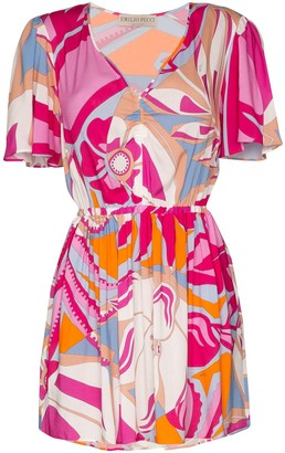 Emilio Pucci short V-neck print dress