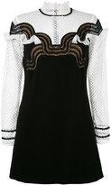 Self-Portrait wave trim mini dress - women - Polyester/Spandex/Elastane/Viscose - 14