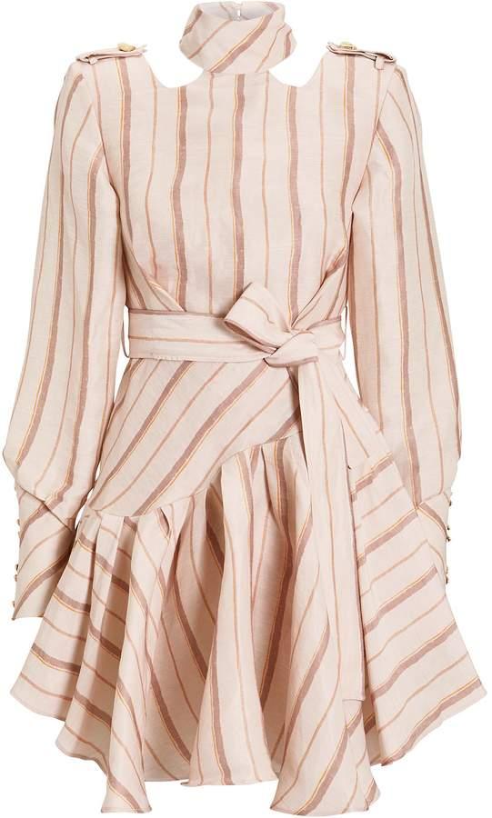 Josie Aje Striped Silk Linen Mini Dress